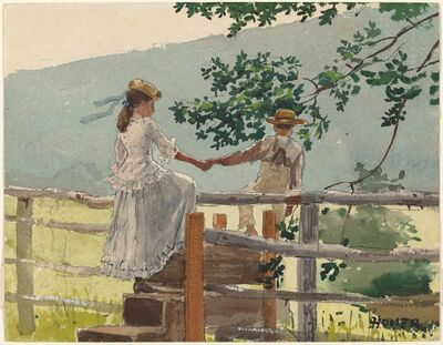 Winslow Homer, 'On the Stile', ca. 1878