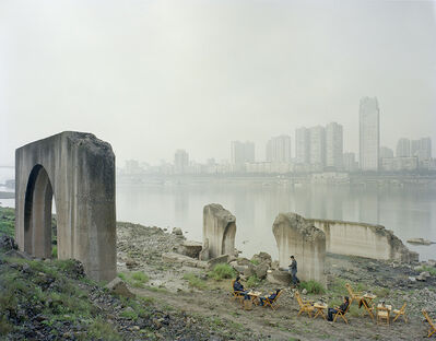 Zhang Kechun, 'Under the abandoned pier 江边喝茶的人', 2014