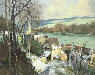 Georges Charles Robin, 'Port-Villez – Neige, River Landscape, France', ca. 1950