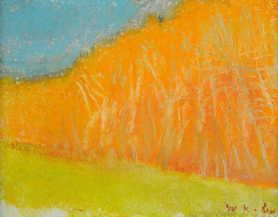 Wolf Kahn, 'Trees at the Edge of a Yellow Meadow', 2017