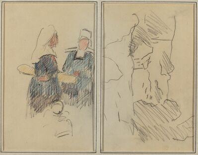 Paul Gauguin, 'Two Breton Women; Landscape [recto]', 1884-1888