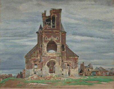 William Rothenstein, 'The Church at Bourlon', ca. 1919