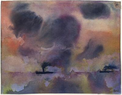 Emil Nolde, 'Stilles Meer mit zwei Dampfern', 1946