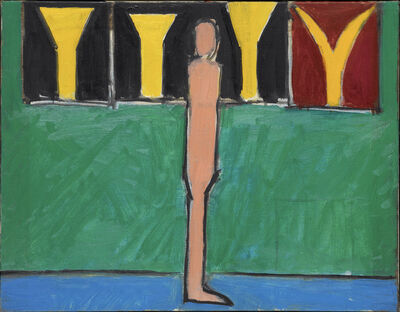 Peter Kinley, 'Figure with a wall of Paintings (Green)', 1968