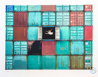 JR, 'The Ballerina Jumping in Containers Le Havre France 2014', 2018