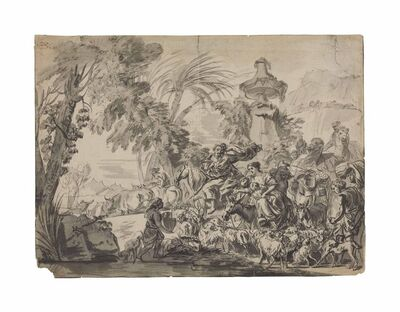 Attributed to Giovanni David, 'A caravan of people and animals heading to an encampment'
