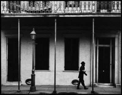 Dennis Stock, 'Ernest Miller nicknamed Kid Punch Miller trumpet player and singer returning home at 6 am. New Orleans, Louisiana. USA. 1958.Ernest Miller nicknamed Kid Punch Miller trumpet player and singer returning home at 6 am. New Orleans, Louisiana. USA.', 1932