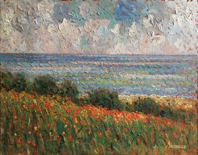 Samir Sammoun, 'field of poppies and the meditarrenean sea ', ca. 2017
