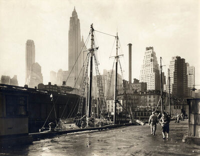 Berenice Abbott, 'Fulton Street Market, Manhattan Skyline, Manhattan', 1936