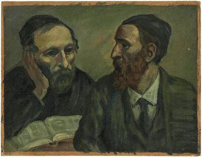 Albert Abramovitz, 'Scholars at Study, Judaica Oil Painting', Mid-20th Century