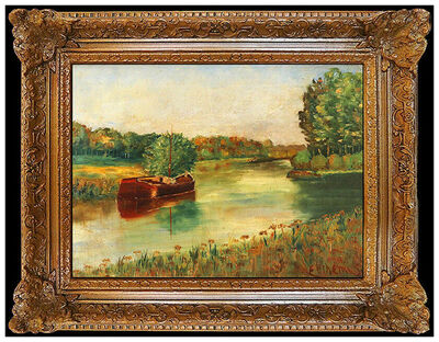 Louis Michel Eilshemius, 'Louis Michel Eilshemius Original Oil Painting On Board Signed Landscape Artwork', 20th Century