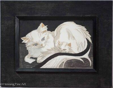 Junichiro Sekino, 'Mother Angora Cat with Kitten', 1956