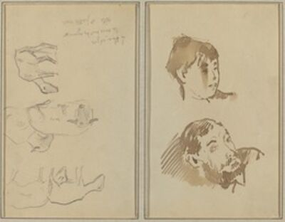 Paul Gauguin, 'Five Sheep; Head of a Woman and Head of a Bearded Man [recto]', 1884-1888