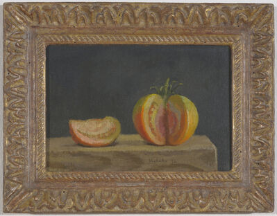 Robert Kulicke, 'Red-Green Tomato, Wedge Removed and Alongside, on a Dark Grey Background', 1996