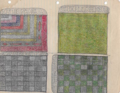 Pearl Blauvelt, 'Untitled (Rainbow Colors Blanket, The All Geen Blanket, A Lavender White Blanket, Color Light Green and Dark Green - White Squares)', ca. 1940