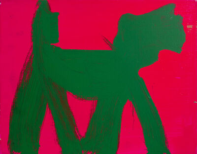 Peter Mayer, 'Dog (Green on Cerise)', circa 1990
