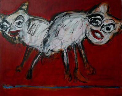 Joanna Flatau, 'Beasts on a red background', 2010