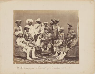Samuel Bourne, 'Maharajah Scindia of Gwalior with his suite', c. 1860s