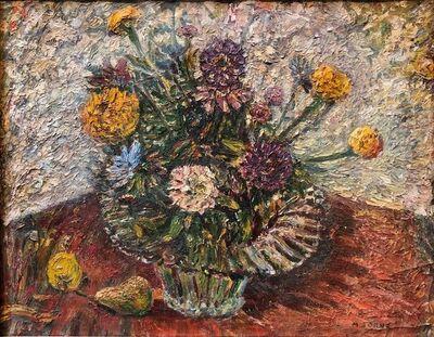 Mortimer Borne, 'BOUQUET Modernist Flowers in a Vase, Impasto Oil Painting', 20th Century