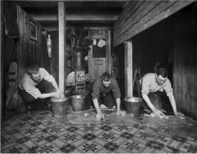 """Frank Hurley, 'The Scientists washing down the """"Ritz"""" (living quarters in the hold)', 1914-1917"""
