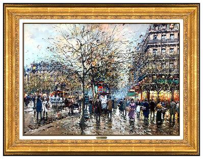 Antoine Blanchard, 'Antoine Blanchard Original Oil Painting On Canvas Paris Cityscape Signed Artwork', 20th Century