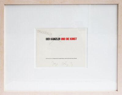 Joseph Beuys, 'Der Kanzler und die Kunst - Druckfehler ', 1982