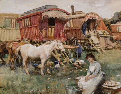 Alfred James Munnings, 'A Gypsy Encampment ', 1906