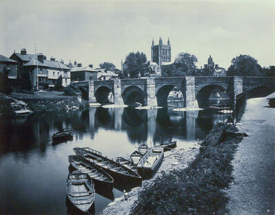 Adolphe Braun, 'Hereford Cathedral and Wye Bridge, England', 1900c/1900c