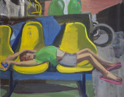 Dena Schutzer, 'Laundromat, Girl on Yellow Chairs', 2018