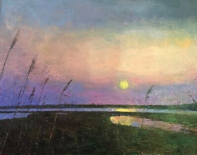 "Larry Horowitz, '""Sunset Calm"" oil painting of the sun setting over water', 2020"