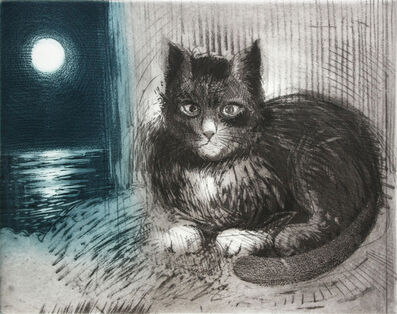 David Blackwood, 'Study for Lone Mummer with Cat,  Moon', 1987