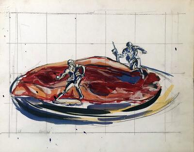 David Wojnarowicz, 'Untitled (Steak on a Plate with Warriors)', 1987