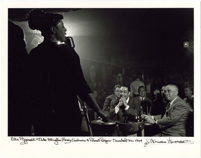 Herman Leonard, 'Ella Fitzgerald, Duke Ellington, Benny Godman, Stan Hasselgard, Jack Robbins, Downbeat, New York, 1948', 1948