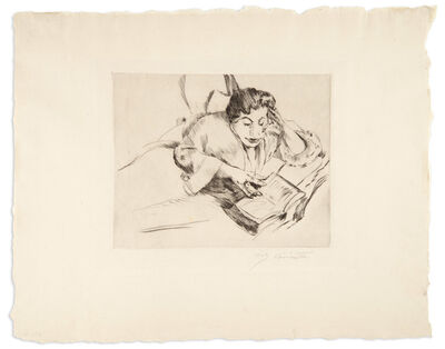 Lovis Corinth, 'LEKTURE AUF DEM SOFA (SCHWARZ 253)', 1916