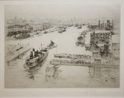 William Walcot, 'The Tyne  (Looking down from the High Level Bridge on the open Swing Bridge)', 1922