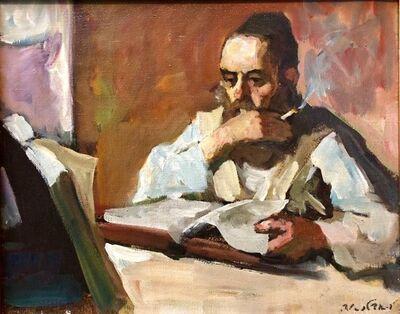 Adolf Adler, 'Israeli Judaica Rabbi Studying Expressionist Oil Painting', Mid-20th Century