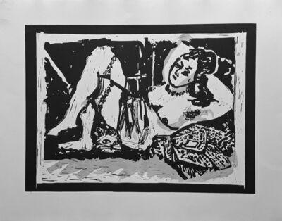 William Kentridge, 'Reclining Figure with Cat', 2016