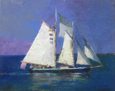 "Larry Horowitz, '""Full Sail"" oil painting of a large sailboat with purple sky and and blue ocean', 2020"