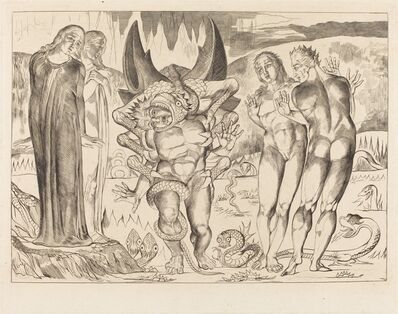 William Blake (1757-1827), 'The Circle of the Thieves; Agnolo Brunelleschi Attacked by a Six-Footed Serpent', 1827