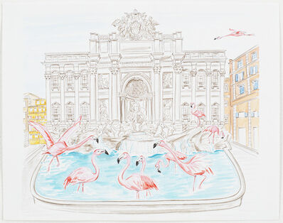 Hayley Sarno, 'Flamingos Flock to the Trevi Fountain '