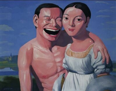 Yue Minjun, 'Ingres and I', 2009
