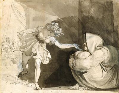 Henry Fuseli, 'Galinthias Outwits Eileithyia By Announcing the Birth of Heracles (Verso: Portrait of Mrs. Fuseli)', 1791