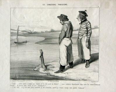 Honoré Daumier, 'Cristi! Notre canot a rompu son Amarre...', 1843