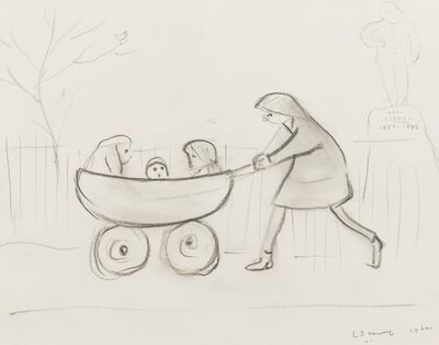 Laurence Stephen Lowry, 'Girl pushing three children in a pram', 1962