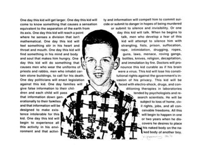 David Wojnarowicz, 'Untitled (One day this kid. . .)', 1990/2012