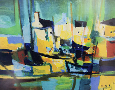 Marcel Mouly, 'Port Aux Maisons Jaunes (Harbor of Yellow Houses)', 1990