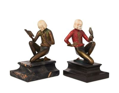 Ferdinand Preiss, ''Pursuits of Youth', a matched pair of cold-painted bronze and ivory figures mounted as bookends', c. 1930