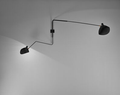 Serge Mouille, 'Pivoting two-armed wall light with 'Lampadaire' and 'Casquette' shades', designed 1954-executed 1961