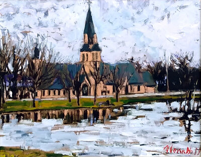 Glenn Hall, 'Swan Pond + Anglican Church Sackville, NB', 2018