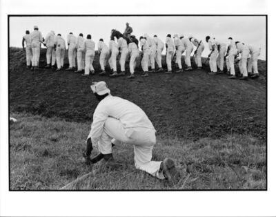 Danny Lyon, 'Hoe Sharpener and the Line, Ferguson Unit, Texas Department of Corrections', 1968